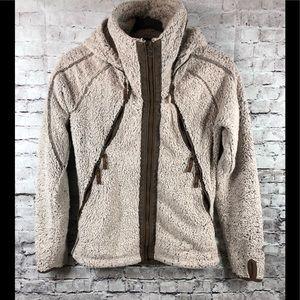 KUHL flight jacket monkey fur hoodie sz xs beige